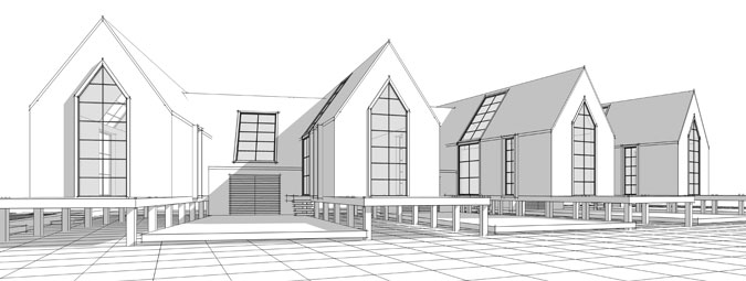 3-D BIM Modelling drawing of a large building