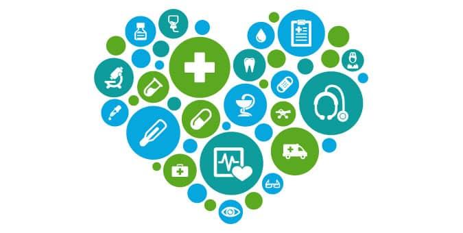 gráficos de atención médica organizados en un corazón