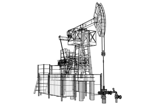 Oil pump jack drawing illustrating how the industrial internet of things helps all the parts communicate