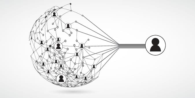 CRM concept graphic representing a network of people