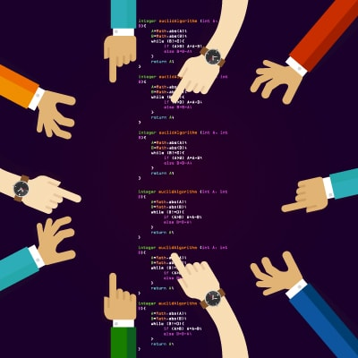 Image with different hands reaching out to Magento community edition open source platform