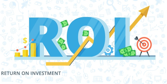 Image with illustration graphic featuring ROI return on investment from magento enterprise edition and chetu