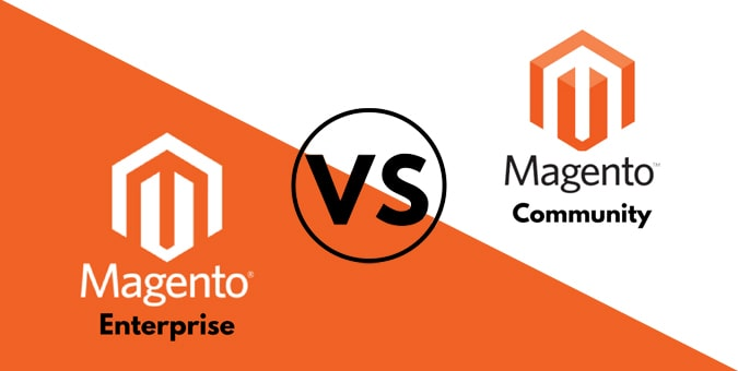 graphic with division choosing between Magento community edition vs enterprise edition