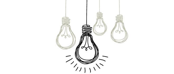 line drawing of lightbulbs illustrating an idea