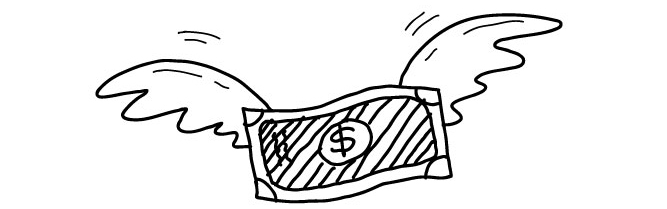 line drawing of money with wings