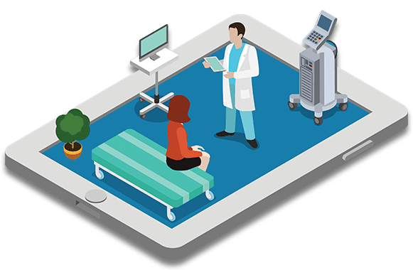 Animation of a doctor and patient on an ipad simulating a doctor's visit