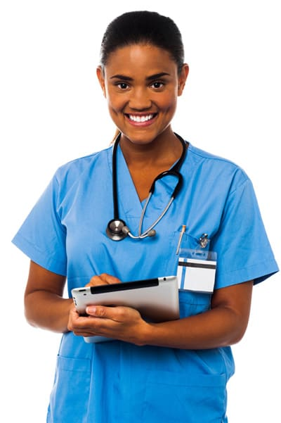 Female Physician smiling using iPad