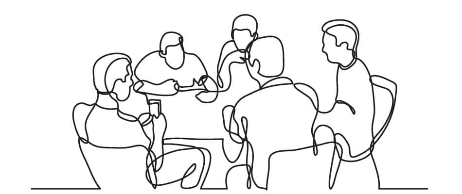 line drawing of a project team at a table