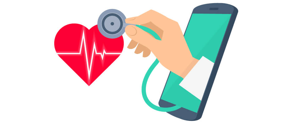 animated cartoon of a dr. hand checking a heart pulse through a mobile device.