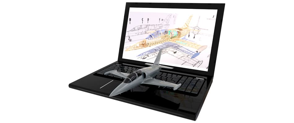 Laptop displaying 3D image of an aircraft model that is on the mouse pad.