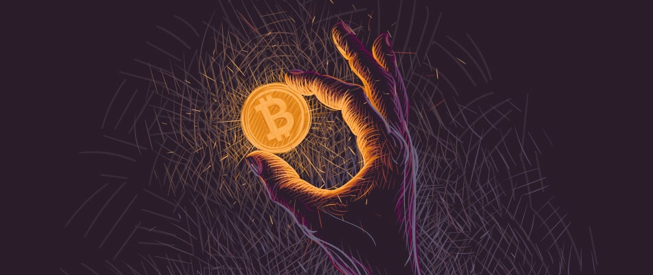 glowing bitcoin coin hand