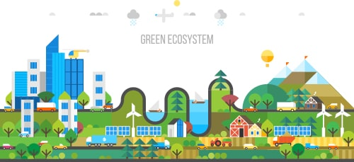Green eco-friendly city with socially responsible corporations