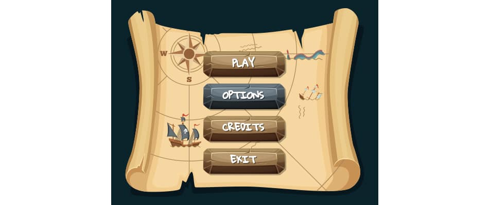 GUI gaming buttons for software navigation