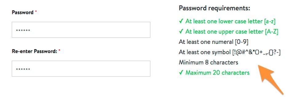 example of password parameters
