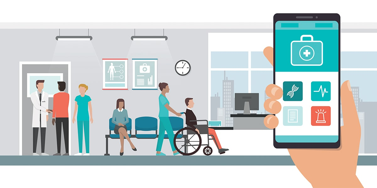 Patients waiting in a doctor's office, a cellphone displaying electronic health records