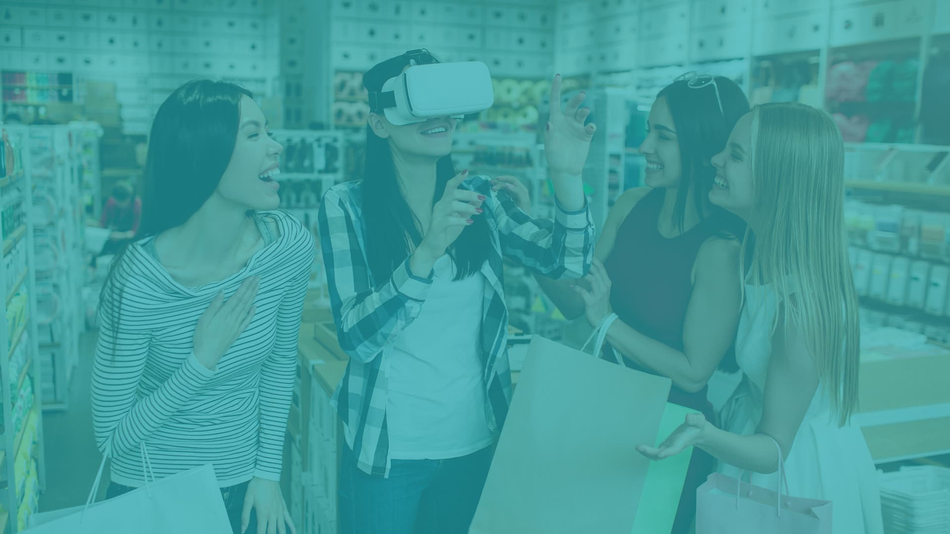 : girls shopping with vr headset
