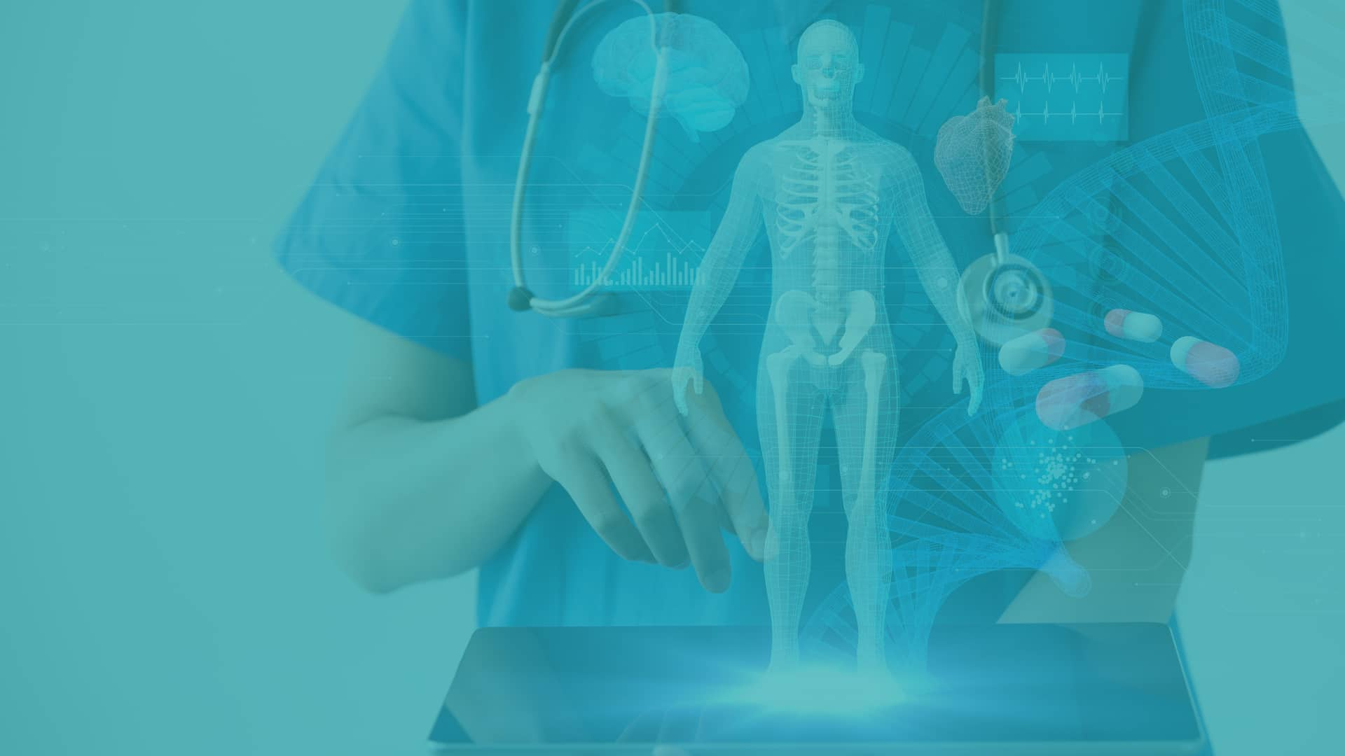 nurse holding iPad projecting medical images