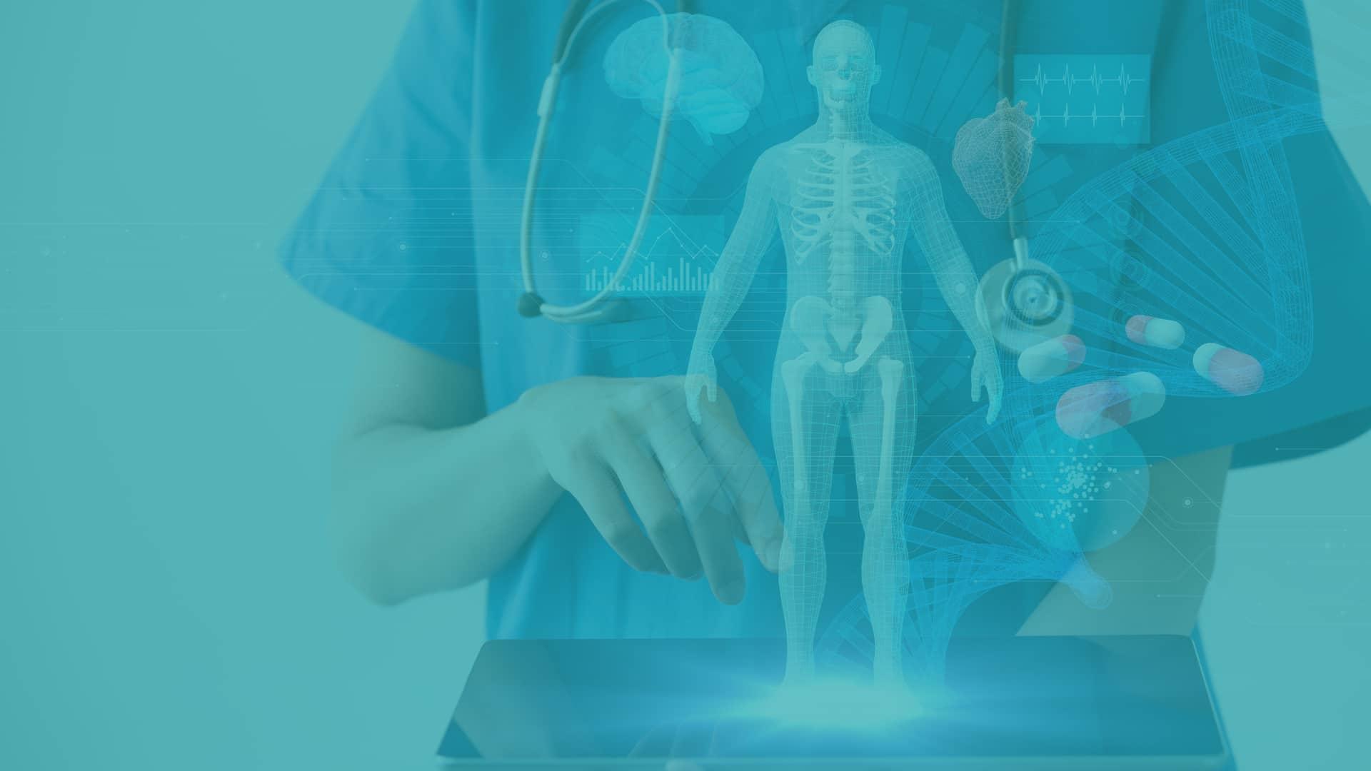 nurse holding iPad projecting medical images