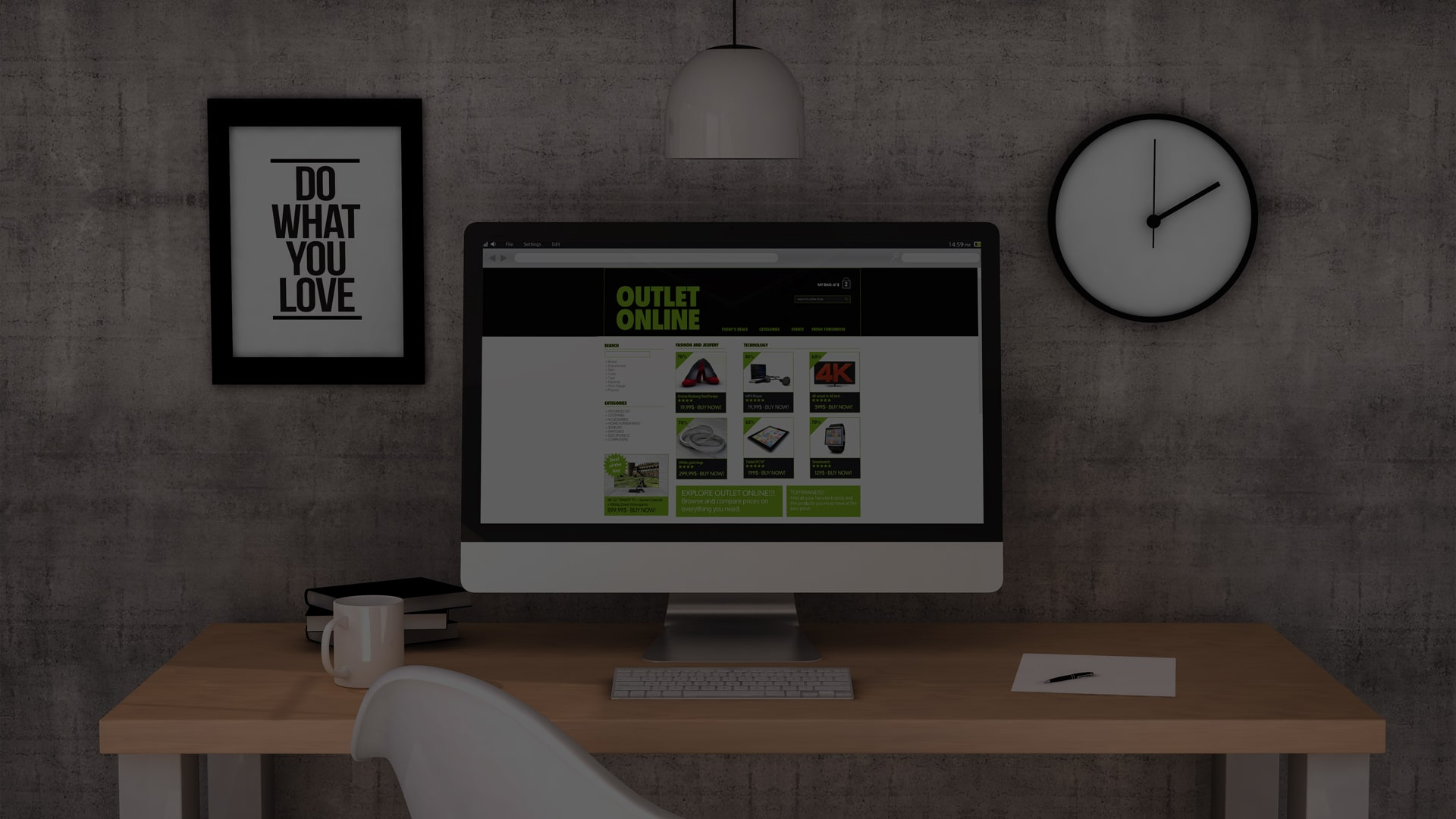 a desktop with an ecommerce website displayed on the screen