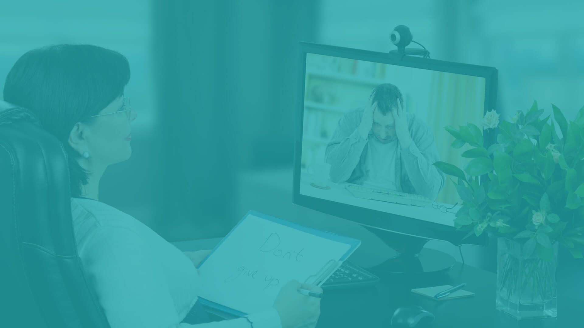 dr. assisting patient remotely with telehealth technology