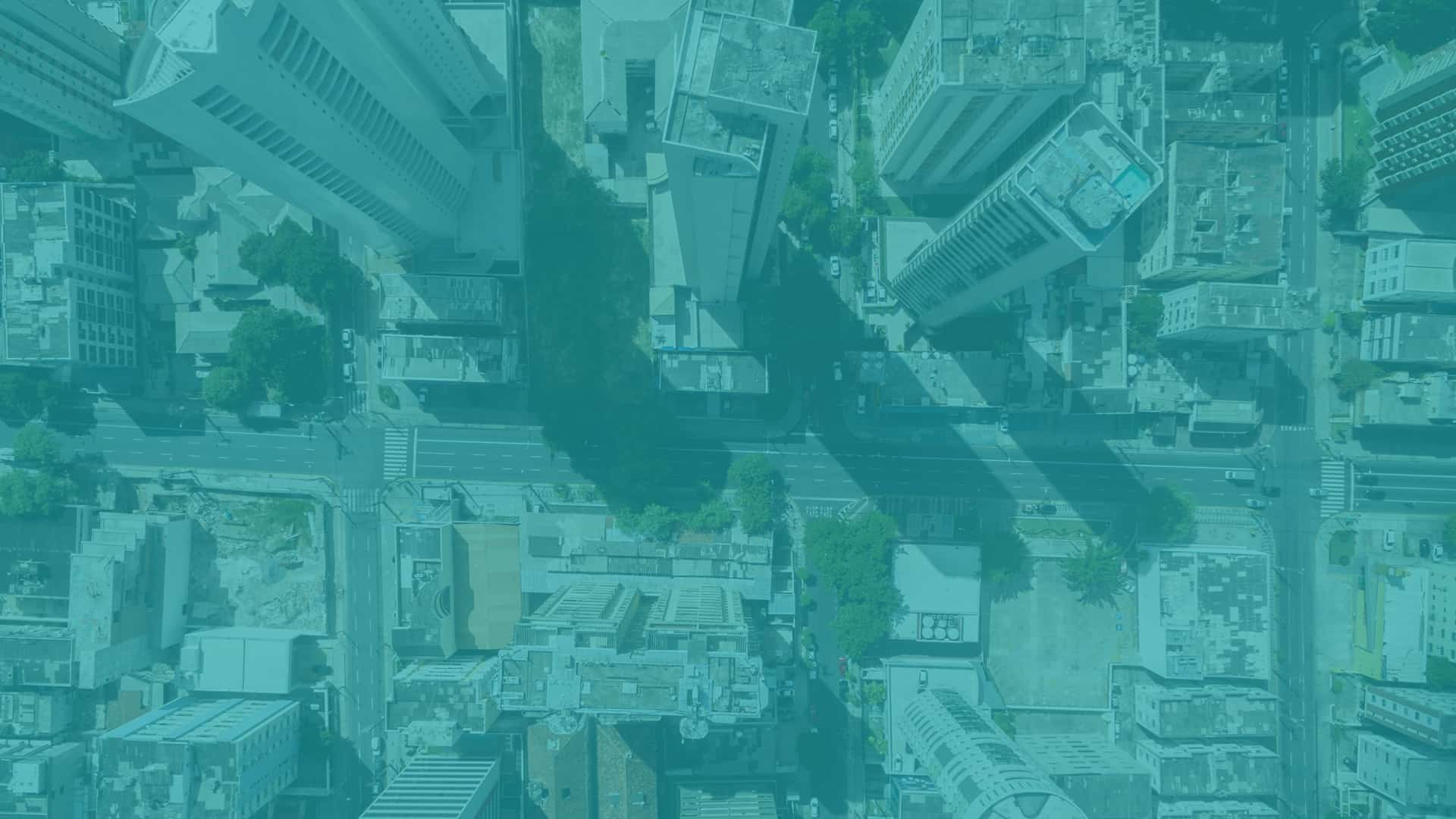 Aerial view of city street taken from a drone