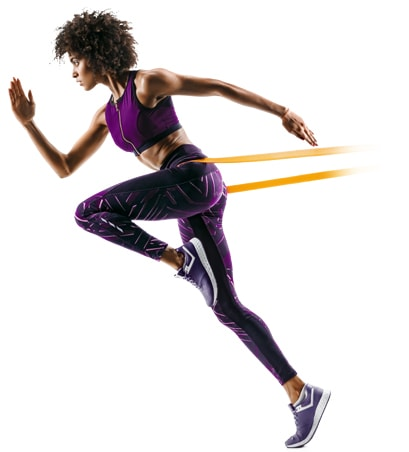 female runner using a resistance band