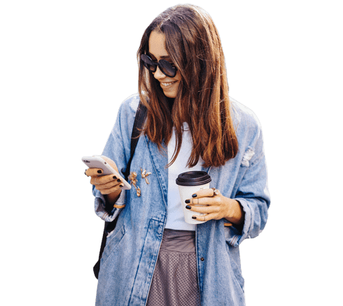 woman staring at smartphone scrolling through Instagram