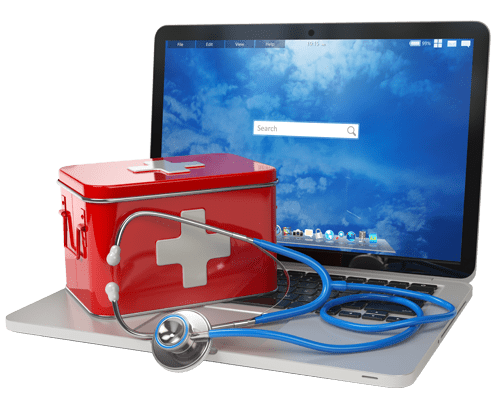 Laptop having first aid box and stethoscope