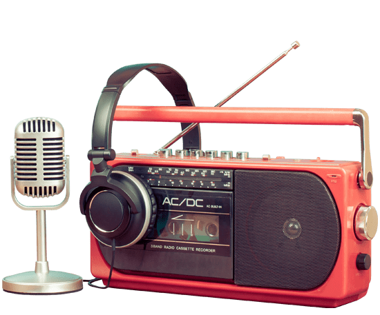 radio microphone, radio, and headphone