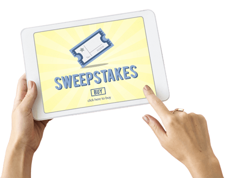 person holding a phone with a sweepstakes app