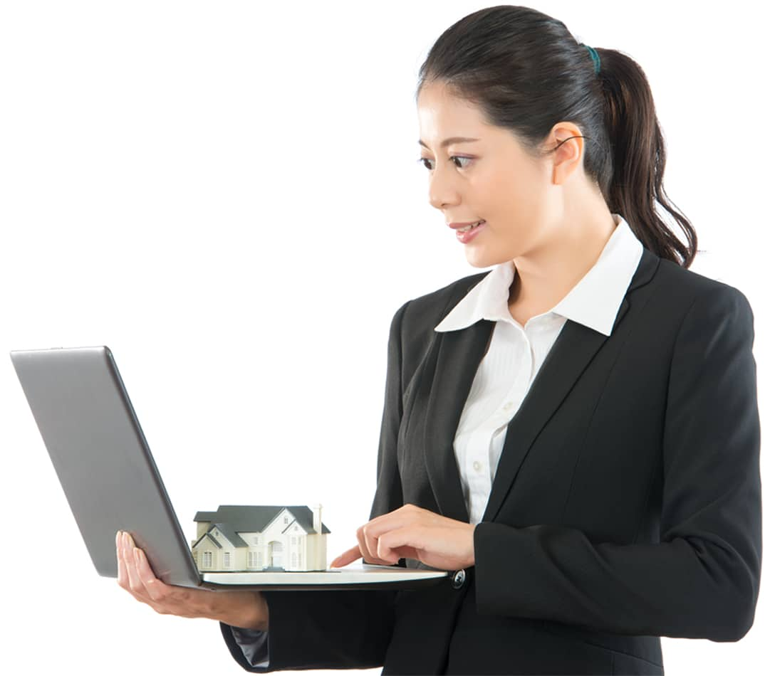 Image of woman using property management survey application, looking down on property