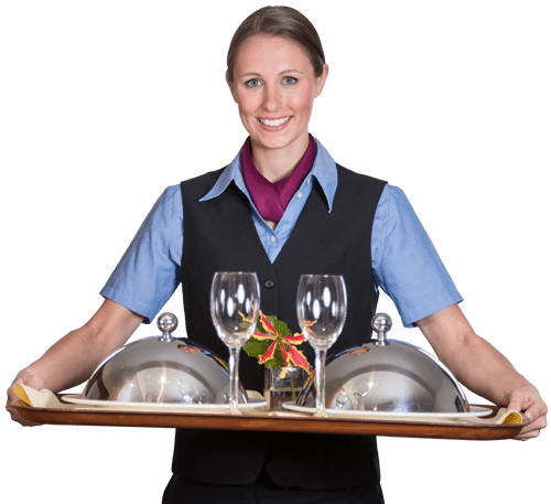 room service concierge worker brining food to guest