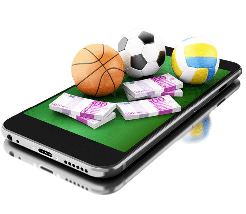 Tablet displaying sports betting app, cash, basketball, baseball, bat, football, and soccer ball