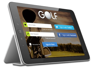 Tablet running golf application