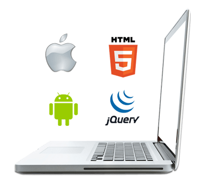 Laptop with technology logo of Apple iOS, HTML, Android and jquery on it