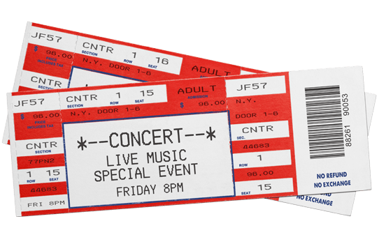 concert tickets isolated