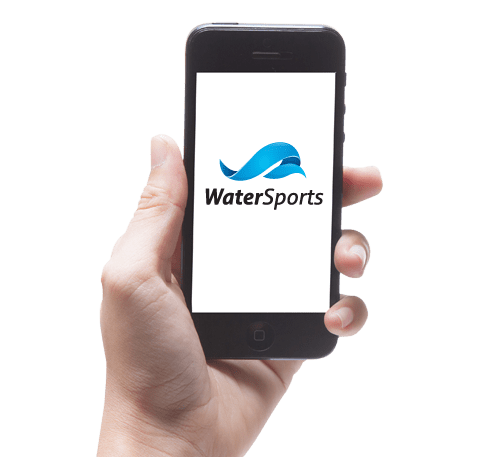 Mobile in hand with water sport app opened