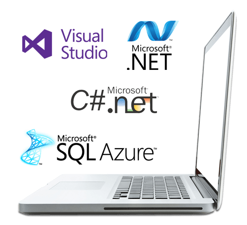 Image of laptop with VS 2017,C# Net and sql