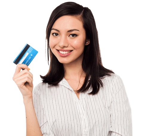 woman holds up EMV chip card