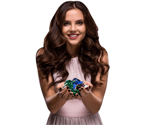 young woman smiling holding poker chips