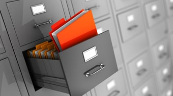 documents in a filing cabinet