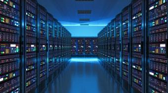 Modern API web network and Oracle 12 database storage server room