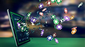 online casino graphic with poker chips coming out of screen