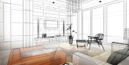 BIM modelling illustration of a living room