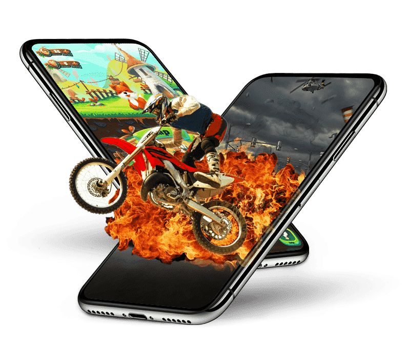 Two Mobiledevices running game on it