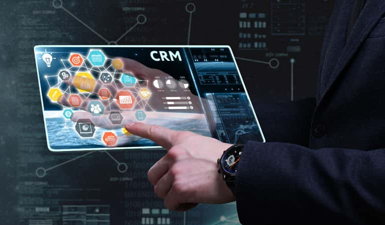 Man using CRM application