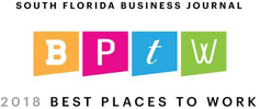 2018 South Florida Business Journal Best Places to Work logo.