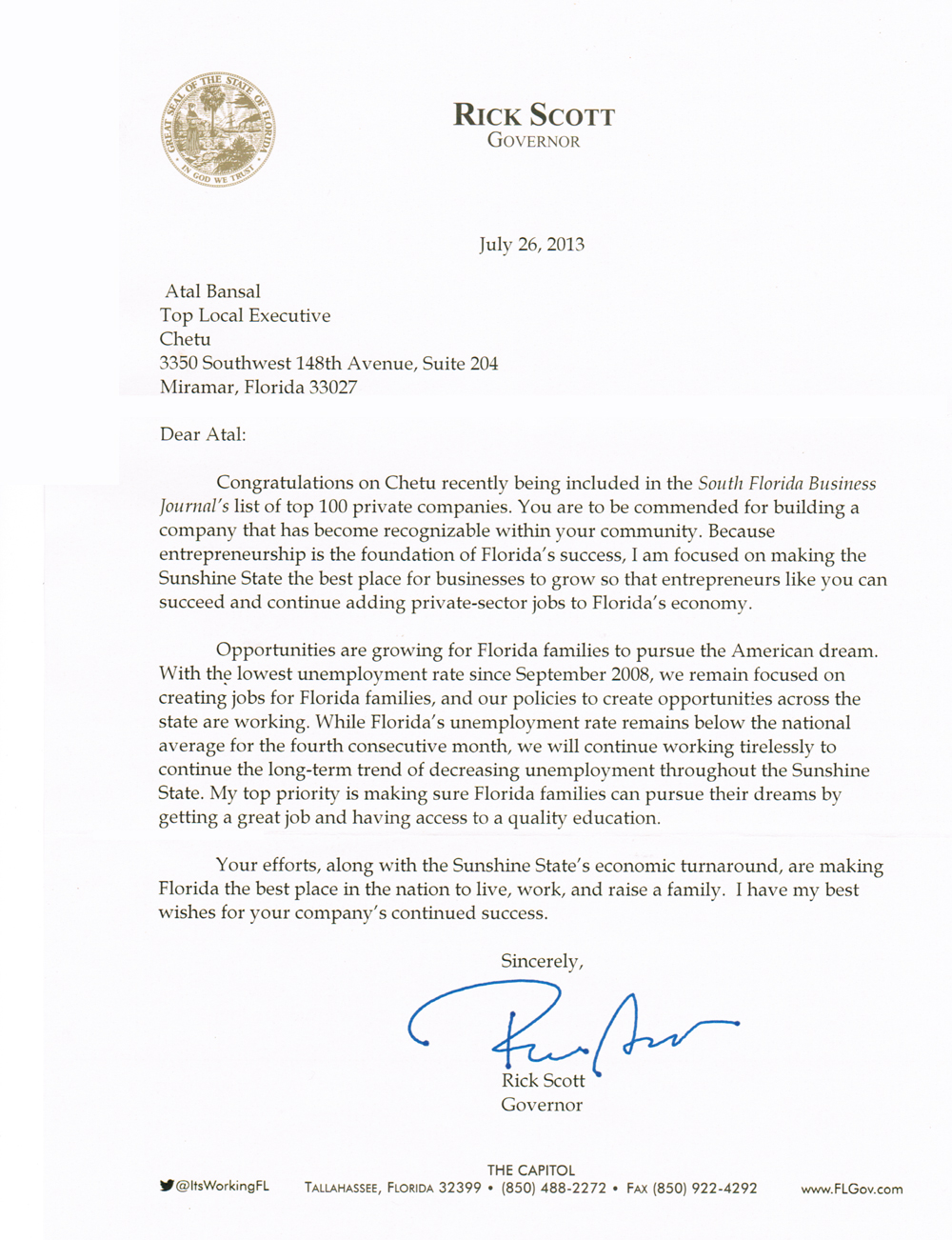 Governer Scott Letter